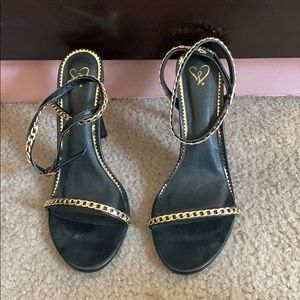 Windsor Shoes - Black Open Toe Heels